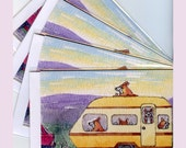 4 x Welsh Corgi dog greeting cards - off on holidays in caravan