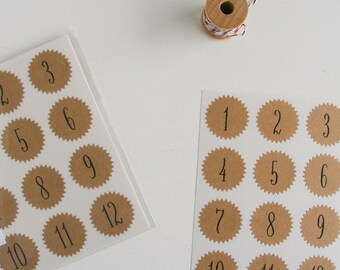 tiny kraft starburst stickers - numbers