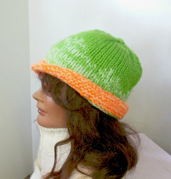 Mohair knit hat derby style knit hat lime by AccessoriesByKelli