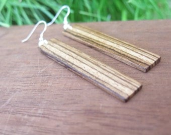 Large Zebrawood Wood Earrings - Stripy - Bold - Zebra - Boho Jewelry - Wooden Grain Contrast - Long Rectangular - Rectangle - African Tribal