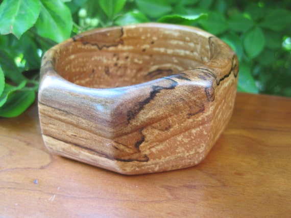 Wooden Bangle - Wood - Apple - Applewood - Geometric - Interesting Grain - Fall - Small Wrist - Woodworking - Boho - Hippie - Cuff -