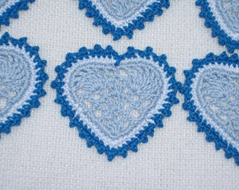 6 handmade crochet applique hearts in blue and white --  1849