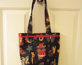 SMALL TOTE BAG Traditional Tattoo Flash Black Purse Handbag
