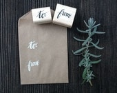 to & from Wood Block Stamp Set, Hand Lettered Calligraphy Stamps, Mini Rubber Stamps, Gift Packaging Stamps