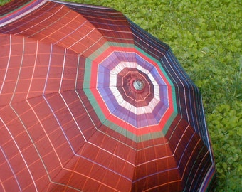 Vintage Umbrella Telescope  Folding Collapsible Parasol  1940's Multi Color Stripes The Tukaway by Marvel