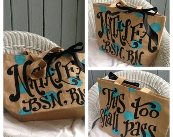 Double sided Painted Custom Monogram or Quote Burlap Tote