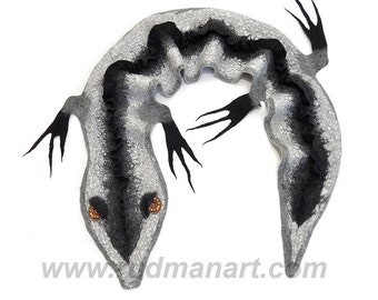 Felted scarf wrap shawl ART Silver Gecko made of natural not dyed gray wool and black wool