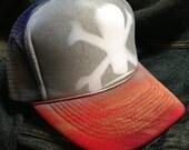skull & crossbones / camo, foam-front trucker or golf hat