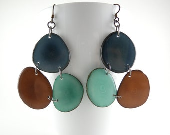 Denim Blue, Chocolate Brown, and Sky Blue Mosaic Trio Tagua Nut Eco Friendly Earrings with Free USA Shipping #taguanut #ecofriendlyjewelry