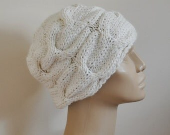 Knit Bright Cream Alpaca Beanie hat  Beret Cloche hat Knit Turban Hat Woman Hat Teen Hat