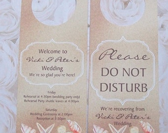 Hotel Door Hangers - BEACH - Nautical - Double Sided for Out of Town Wedding Guests - Do Not Disturb