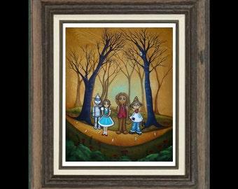 Wizard of Oz Folk Art  Print - Whimsical Fairytale - If I Only