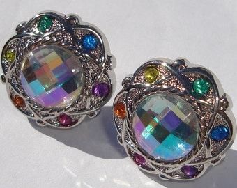 Amazing colorful rainbow faceted rhinestone pierced post hand made earrings unique affordable