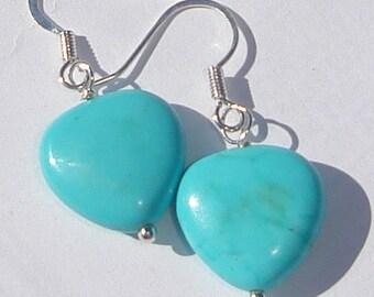 small blue heart shaped stone pierced dangle hand made wire wrapped earrings
