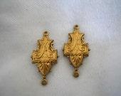 Vintage Oxidized Brass Engraved Connectors