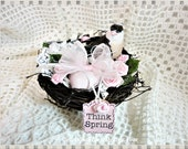 Angel Birdie Nest with Pink Eggs, Roses, and Millinery Accents, Hand Painted and Created, ECS, CSSTeam