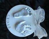 Child's Hand and Footprint OUTPRINT ceramic plaque