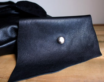 Black Leather Business Card Holder/Wallet from Recycled Leather