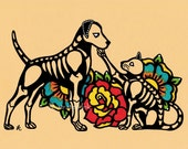Dia de los Muertos DOG and CAT Day of the Dead Art Print 5 x 7, 8 x 10 or 11 x 14 - Donation to Austin Pets Alive