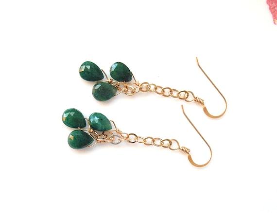 genuine emerald and gold dangle earrings