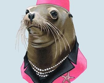 Sea Lion Lady art print 8x10