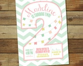 Second birthday party invitation, 2nd birthday girl, two years old - number two - printable birthday invitation