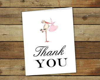 stork baby shower thank you notes in pink, printable baby shower thank you notes, instant download