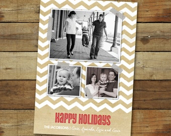 Chevron kraft Christmas card, photo card, holiday card