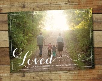 LOVED - Valentine's Day Photo Card, printable valentine card, custom photo card