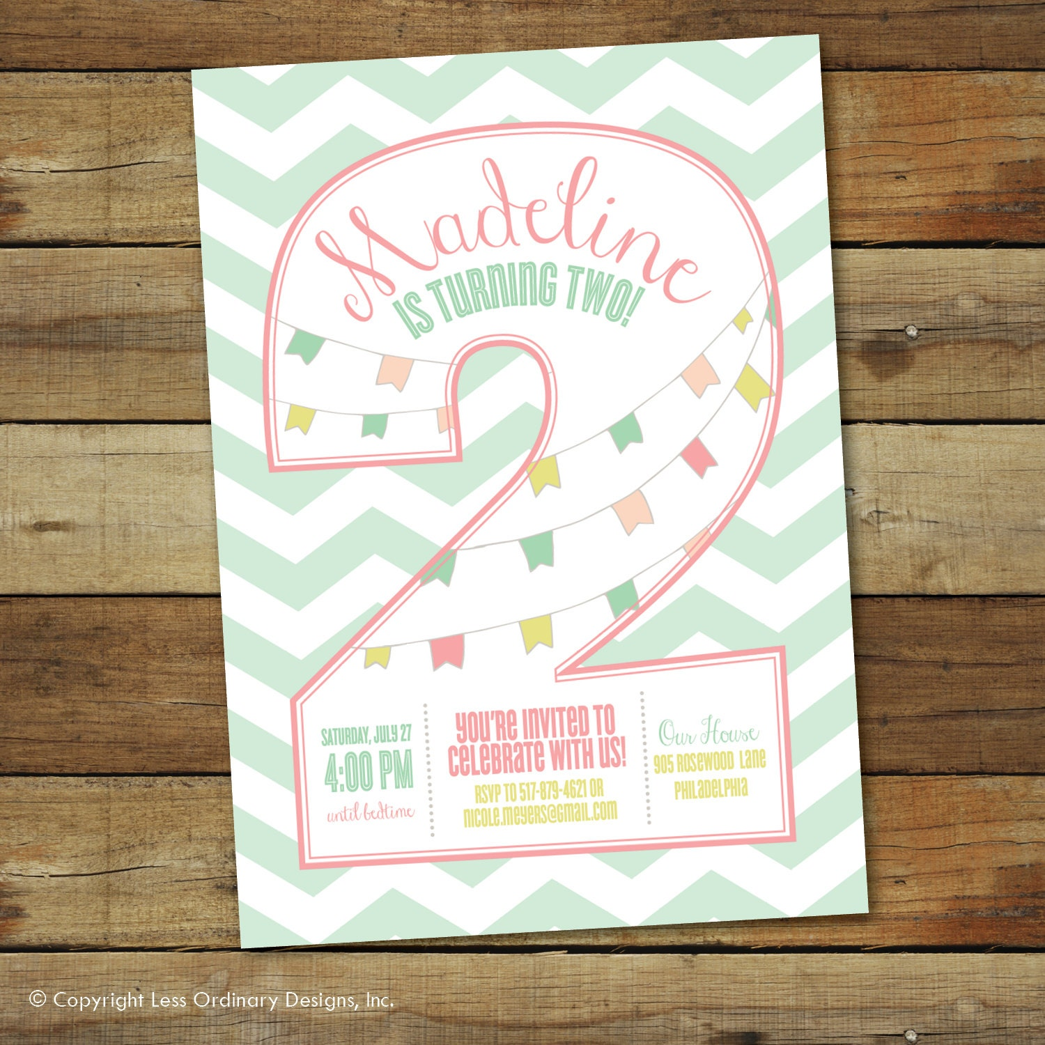 Second Birthday Party Invitation 2nd Birthday Girl Two Years