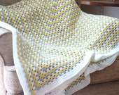 Double Bed sized Crochet Blanket or Afghan in Yellow White Gray
