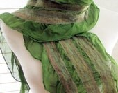 Nuno Felted Silk Scarf, Ruffle Scarves, Felt Scarf, Neckwarmer, Gift for Her, Moss Silk and Merino Wool 1292