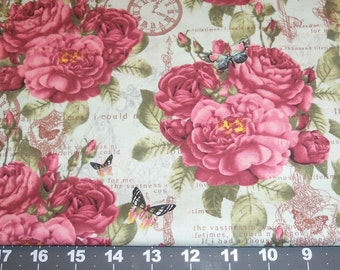 PROVENCIAL large rose butterfly pocket watch poetry- half yard for Fiber Arts Fabric Collage Quilting