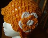 Teen/Adult Tangerine Crochet Cotton Cloche/Hat with Tangerine/White Flower