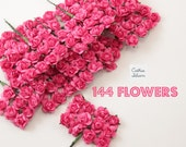 144 Hot Pink Paper Flowers - small bouquet - wedding, bridal, baby showers, invitation making, scrapbooking