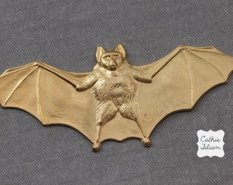 Halloween Bat Brass Stampings - metal findings - embellishment, scrapbooking, jewelry design, altered art, collage