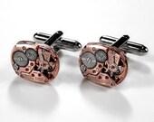 OMEGA Rose Gold Cufflinks Genuine LUXURY Steampunk Jewelry Mens Cuff Links Wedding Anniversary Groom Valentines Gift - Jewelry by edmdesigns