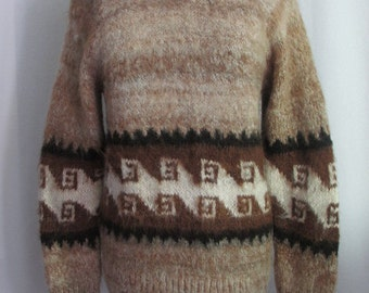 Vintage Fuzzy Alpaca Brown Geometric Pattern Pullover Sweater Women's Medium