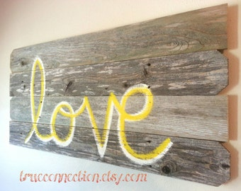 LOVE Headboard Script Wall Art Reclaimed Wood LARGE 44 x 22 Wooden Sign Wedding Decorations Farm House You Pick COLOR