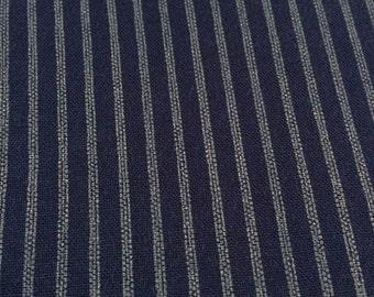 Japanese Pinstripe cotton fabric navy blue indigo gray