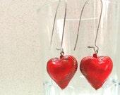 Earrings Jewelry  RED small hollow heart dangle   handmade by artefyk