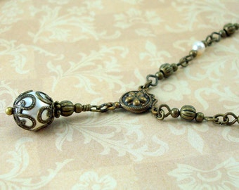 Vintage Inspired Swarovski Pearl Necklace in  Art Nouveau Style