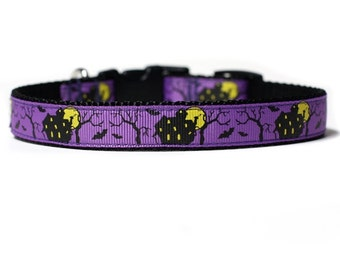 5/8 or 3/4 Inch Wide Dog Collar with Adjustable Buckle or Martingale in Haunted House