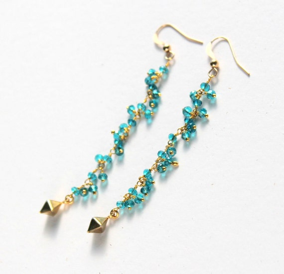 Long Aqua Earrings, Blue Zircon, Linear, Blue Turquoise, Boho Chic, Gemstone 14k Gold Filled,  Pyramid Bead, Dangle, Modern, SALE