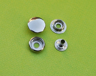 FREE SHIPPING--40 sets of 15mm Fastener Metal Snap Buttons in Silver/Nickel