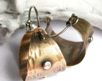 Rustic Earrings, Small Hoops, Mixed Metal Hoop Earrings, Sterling Silver And Bronze Earrings, Metalsmith Jewelry, Brass Basket Hoop Earrings