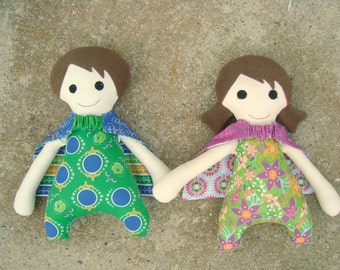 Super Hero Boy and Girl Doll Pattern with Reversible Cape