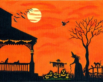 "Halloween Art Print Titled "" Heading Home """