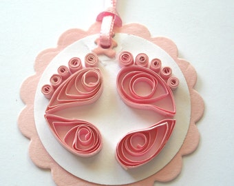 Quilled Baby Footprint Tags in Pink Set of 6