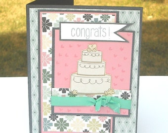 Congrats Wedding Cake Card, Pink and Grey with Flag Banner, Formal or Informal Weddings or Bridal Shower